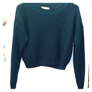 Forever 21 Dark Green Cropped Sweater MEDIUM